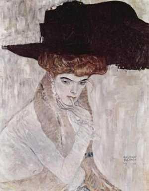 Dama w kapeluszu z piórami - obraz Klimta
