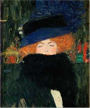 Obraz Klimta -  Dama w kapeluszu i boa