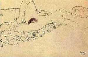 Rysunek klimta - Akt leżący z rozłożonymi nogami