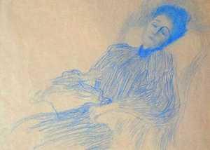 Rysunek Gustava Klimta - Kobieta w fotelu