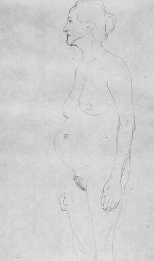 Rysunek Klimta - Akt starej kobiety