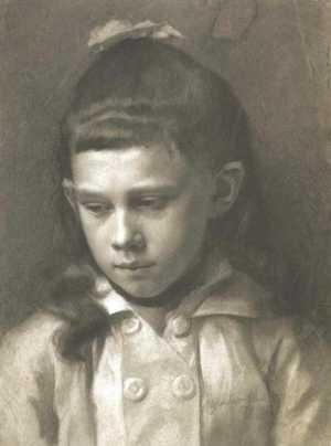 Klimt - rysunek - Portret dziewczynki, głowa lekko zwrócona w lewo (studium)